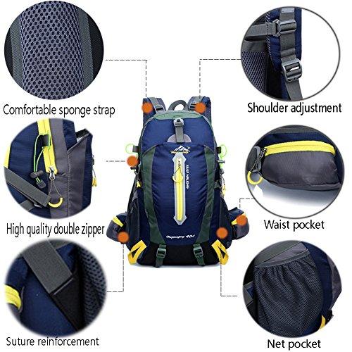 Imagen de yumomo 40l impermeable  de senderismo trekking camping viajes al aire libre deporte  pack alpinismo escalada bolsa de  azul oscuro, 40l  alternativa
