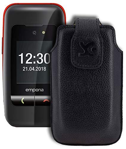 Suncase Original Tasche für Emporia One Hülle Leder Etui Handytasche Ledertasche Schutzhülle Case in vollnarbiges-schwarz