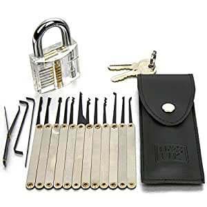 h s 16 pcs practice lock pick padlock picking tools kit training set with transparent practice. Black Bedroom Furniture Sets. Home Design Ideas