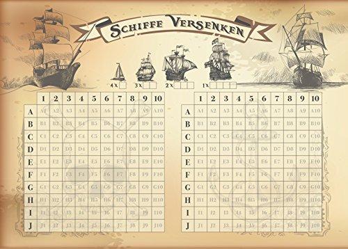 Reisespiel Schiffe versenken Block. Je Set 2 Blöcke a 50 Blatt Papier DIN A6 groß Spiel unterwegs Jungen Mädchen Kinder Erwachsene - Karte-spiel Affe