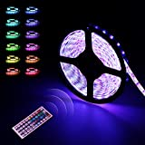 LED Strip | LED Streifen | infinitoo 5M 5050 RGB 300er LEDs mit Fernbedienung 44 Tasten, Mehrfarbige Bänder für...