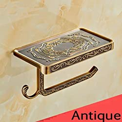 Generic Antique/Gold/Black/Chrome//White Toilet Paper Holders Mobile Phone Holder With Hook Bathroom Accessories Paper Shelf Brown