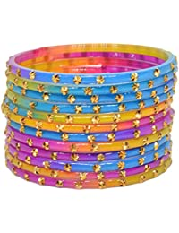 Sylque Classic Multicolor Glass Bangles With Metallic Work (set Of 12)