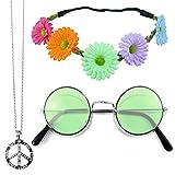 Hippie Set 3-tlg. - Margeriten Haarband, Peace Kette und Lennon Brille - Bunt mit grüner Brille