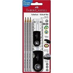 Idea Regalo - Faber-Castell 217069-Set per la scuola Sleeve Gross, 6pezzi con righello, Nero