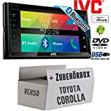 Toyota Corolla Verso schwarz - JVC KW-V320BTE - CD DVD Bluetooth MP3 USB 6,8-Zoll Display Autoradio - Einbauset