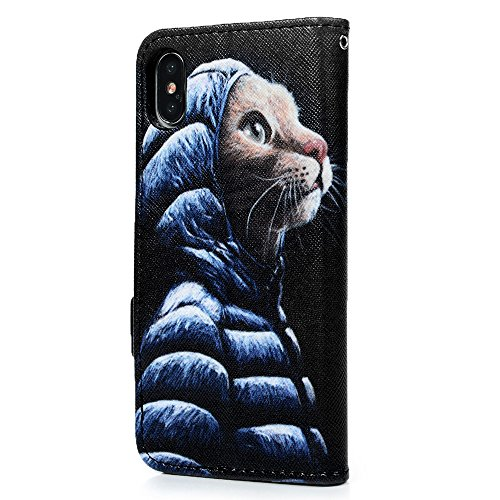 MAXFE.CO Schutzhülle Tasche Case für iPhone X PU Leder Flip Tasche Cover Gemalt Muster im Ständer Book Case / Kartenfach Ananas Katze 1
