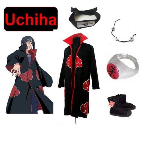 Naruto Kostüm Für Verkauf Cosplay - Japanische Anime Naruto Cosplay für Uchiha itachi Set -- Akatsuki Ninja Cloak ,Größe(M: Höhe 159cm-168cm) + Uchiha itachi Halskette + Uchiha itachi Ring + Uchiha itachi Stirnband + Ninja-Schuhe