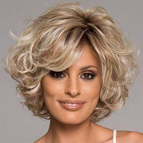SCJWIE Stilvolle atemberaubende Mischung Blonde synthetische lockige Kurze Frauen Perücke Haar -