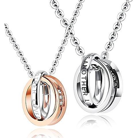 M. JVisun Love un paio in acciaio inox doppio anello zirconi collana con ciondolo, argento/oro rosa