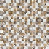 Kombimosaik Fliesen beige braun weiß Wand Boden Dusche WC Küche | 10 Matten | Art: es-54305_f