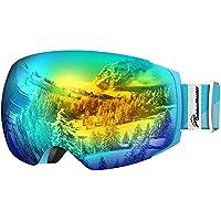 Skibrille Pro für Damen und Herren, Outdoormaster Snowboardbrille Verspiegelt, helmkompatible Schneebrille mit OTG UV400 Schutz, rahmenlosen Ski Goggles mit Austauschbar Sphärische Doppelte Linse - perfect für Skifahren, Skaten, Snowboarden