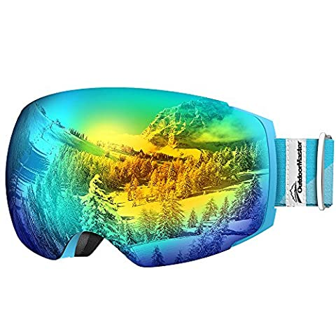 OutdoorMaster Ski Goggles PRO - Frameless, Interchangeable Lens Snow Goggles for Men & Women - 100% UV Protection ( Light Blue Frame VLT 13% Grey Len with Full REVO Gold and Free Protective Case )