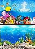 Acquario Carta Da Parati Pittura HD Immagine 3D Pesce Serbatoio Sfondo Doppio Lato Acquario Decorativo Serbatoio Di Pesce Adesivo,[High70*Length152cm]