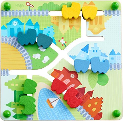 HABA 303851 - Motorikbrett Zug | Holzspielzeug ab 12 Monaten | Lustiger Schiebespaß mit buntem Landschaftsmotiv | Rückseite mit Farbenspiel