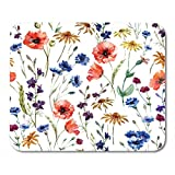 AOHOT Tappetini per Il Mouse Pattern Wildflowers Watercolor Poppy Cornflower Chamomile Floral Damask Mouse Pad 9.5' x 7.9' for Notebooks,Desktop Computers Accessories Mini Office Supplies Mouse Mats