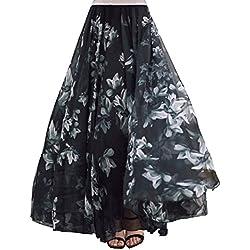 DEBAIJIA Falda Larga Mujer Maxi Bohemia Playa Vacaciones Gasa con Estampado Floral Talla Grande Cintura Elástica Negro