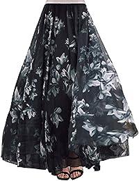 DEBAIJIA Falda Larga Mujer Maxi Bohemia Playa Vacaciones Gasa con Estampado  Floral Talla Grande Cintura Elástica 0d21c612627f