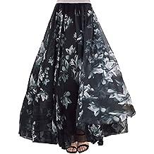 5e1c3f5ab DEBAIJIA Falda Larga Mujer Maxi Bohemia Playa Vacaciones Gasa con Estampado  Floral Talla Grande Cintura Elástica