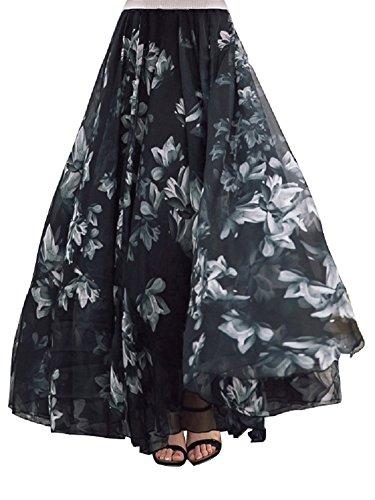 DEBAIJIA Falda Larga Mujer Maxi Bohemia Playa Vacaciones Gasa con Estampado Floral Talla Grande Cintura Elástica Negro - M