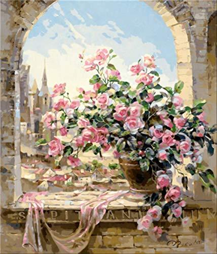 xiangxinli314 DIY esszimmer Blume Rose Geranium Digitale malen nach Zahlen Farbe leinwand färbung Zeichnung nach Zahlen Hause wanddekoration Burgund 40x50 cm kein Rahmen