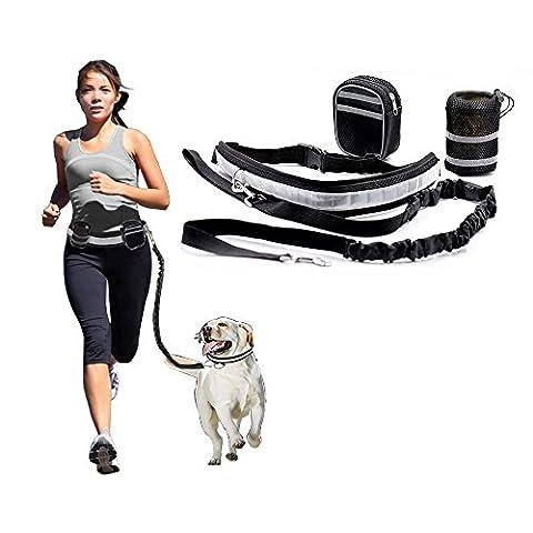 SUNYOU Hands Free Dog Walking Belt Ajustable Dog Leash Waist Belt Pet Dog Leash Running and Jogging Lead Belt for Dogs with 2 Pack Bags and Reflective Strip