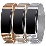 Onedream Compatible pour Fitbit Inspire HR Bracelet/Inspire HR Bracelets Femme Homme Sport Acier Metal Argent,Champagne,Royal Gold Band Remplacement Accessoires,S