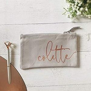 Kosmetikbeutel Mäppchen personalisiert mit Namen Grau roségold in 2 Größen - Geschenk beste Freundin Trauzeugin Brautjungfer Schwester