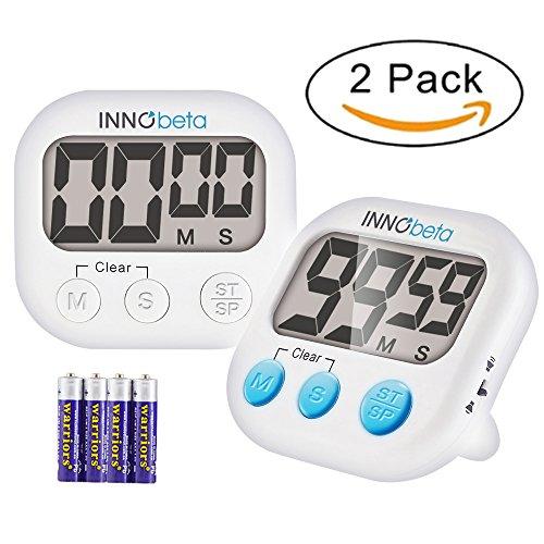 InnoBeta 2er elektronischer Küchen timer mit Stoppuhr, digitale magnetische Eieruhr, Countdown...