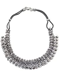 Silvertone Oxidized Necklace Set Handcrafted Indian Fashion Jewellery Gift For Women