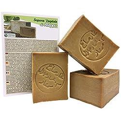 Jabón de Alepo 3 piezas - Aceite de Oliva y Aceite de Laurel 16% - Método tradicional - Alepo puro.
