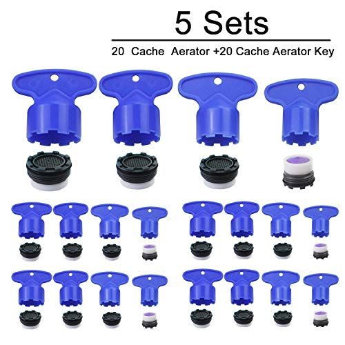 Cache Wasserhahn Luftsprudler Schlüssel Ausbauschlüssel Werkzeug für M 16.5 18.5 22,5 24 Cache Luftsprudler 4 Set (5 Stück) (Luftsprudler Küche Wasserhahn Delta)