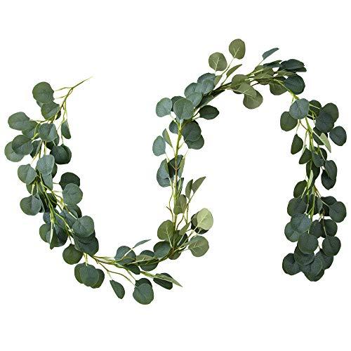 Belle Fleur künstliche Eukalyptusgirlande, 1,8 m, 148 Blätter, Weihnachtsgirlande, für Hochzeiten, Hintergrund - De Fleur Blatt