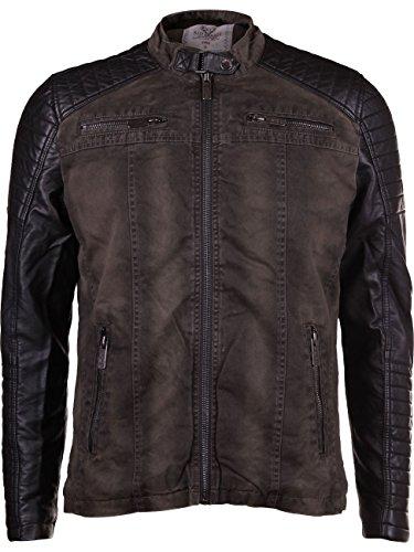 by Redbridge Cipo & Baxx giacca da uomo con custodia protettiva in ecopelle maniche R-41451W cachi