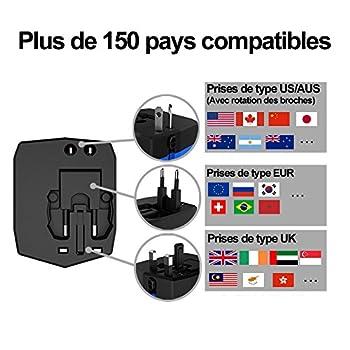 ADAPTATEUR CHARGEUR UNIVERSEL DE VOYAGE KiXool avec batterie de 3000mAh, deux ports USB et prise de courant universelle [US UK EU AU ...]