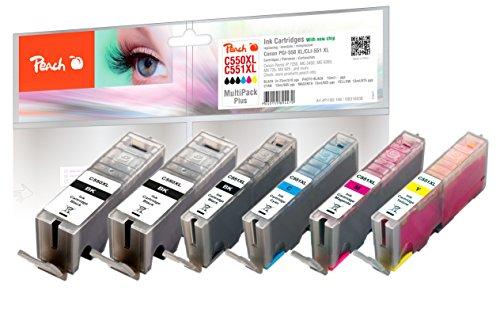 Peach Spar Pack Plus Tintenpatronen, XL-Ergiebigkeit, kompatibel zu Canon PGI-550XL, CLI-551XL (Cyan Tinte Serie)