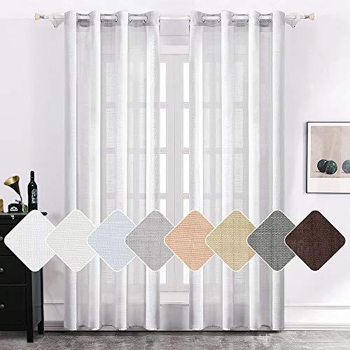 MIULEE 2er Set Voile Vorhang Sheer Leinenvorhang mit Ösen Transparente Leinen Optik Gardine Ösenschal Wohnzimmer Fensterschal Luftig Lichtdurchlässig Dekoschal für Schlafzimmer 225 x 140cm (H x B)