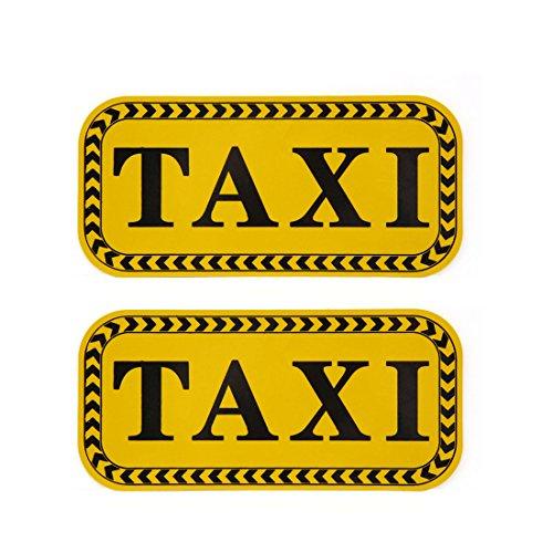 sourcingmap® 2 pcs Motif TAXI Auto-adhésif autocollant réfléchissant autocollant noir jaune pour voiture