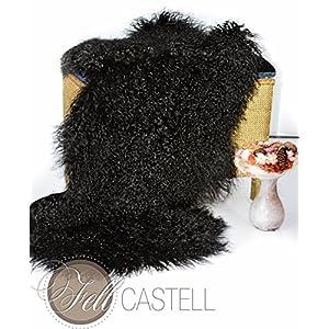 Tibet-Lammfell schwarz 90 cm Tibetlammfell Mongolisches Lammfell gefärbt