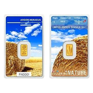 1g Argor Heraeus Goldbarren 1 Gramm 9999 mit Zertifikat Following Nature Summer