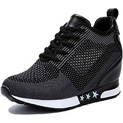 tqgold Zapatillas de Deporte Zapatillas Altas Para Mujer Tacón Cuña 8CM (Negro,38 EU)