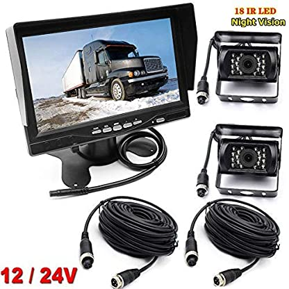 Rckfahrkamera-fr-WohnmobilBusAnhnger-4-polig-12V-24V-7-Inch-TFT-LCD-HD-Monitor-mit-Sonnenschutzhalterung-2-x-18-LEDs-IR-Nachtsicht-wasserdichte-Rckfahrkamera-fr-WohnmobilBusLKW