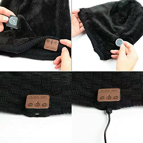 Berretto Bluetooth Cappello Musicale Beanie Invernale Auricolare Bluetooth Lavabile Cuffia in Maglia Calda Morbida Ricevere chiamate e Musica a Ricezione delle Mani Senza Fili