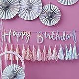 Ginger Ray Iridescent Holographic Rainbow Designer Happy Birthday Bunting Banner Decoration - Iridescent Party