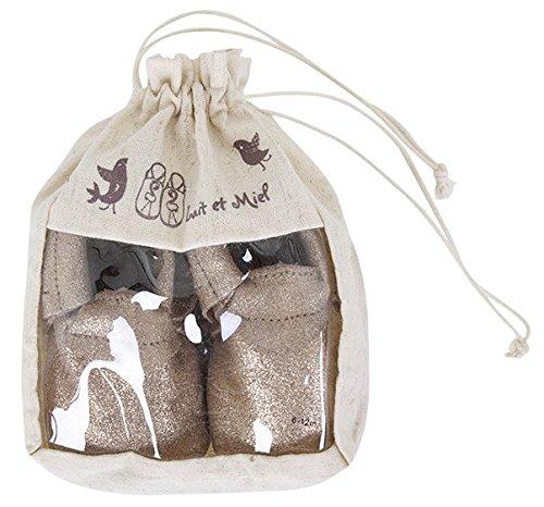 Lait et Miel Leder Lauflernschuhe Krabbelschuhe Babyschuhe Mocassins Design Camel 18-24 Monate Gold