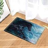 JYRSTSEHT Stuoia Stampata in Tessuto 3D HD Black Horse Psichedelico, Tessuto in Poliestere Morbido E Confortevole, 40 × 60 Cm, Stuoia da Bagno Antibatterica