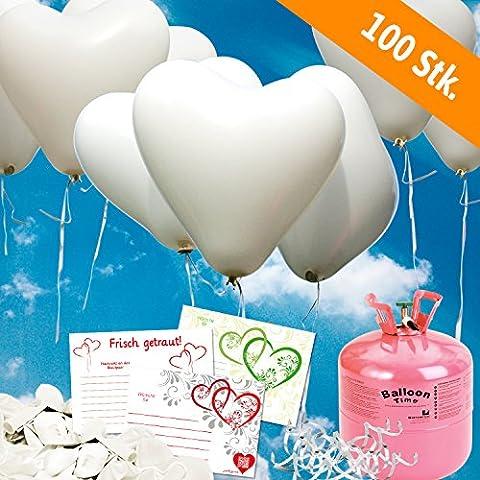 100x Herzballons weiß Ø30cm + Helium Ballongas + PORTOFREI + 100x Ballonflugkarten + Geschenkkartenset. High Quality Premium Ballons vom Luftballonprofi & deutschen Heliumballon Experten. Luftballon Deko zur Hochzeitsfeier und tolles Luftballongeschenk zur