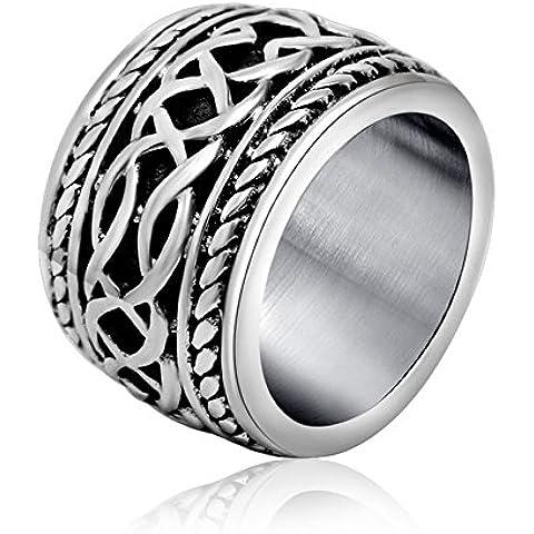 Ángel de Jade antiguo titanio con acero inoxidable de la vendimia de la Plata Esterlina anillo plateado