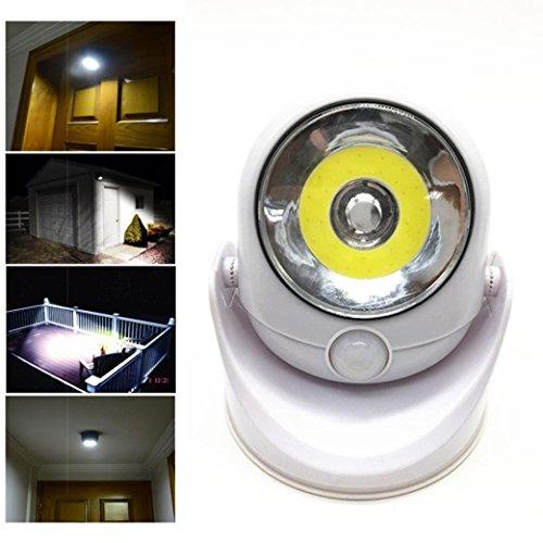VENMO 360-Grad-Licht Kabellose Bewegung aktiviert Sensor Licht LED-Licht schwenkt Kaltweiß Außenleuchte Flutlicht Sensorlicht Bewegungsmelder Wasserdicht Aluminiumkörper Silber, Einstellbare Verzögerungszeit und Helligkeit und Sensorbereich [Energieklasse A++] (White)