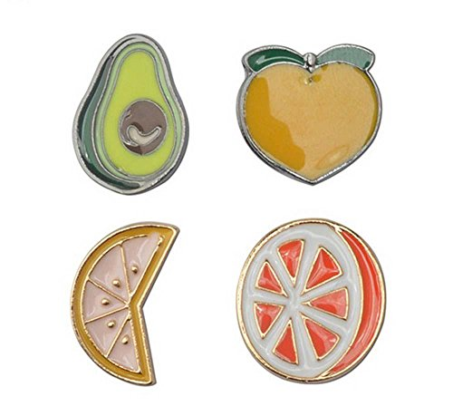 creative-enamel-brooch-pin-avocado-peach-lemon-oranges-cartoon-brooch-4pcs